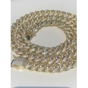 Harlembling 14k Gold Diamond ICY Curb Link Chain